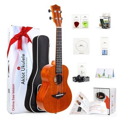 AKLOT Concert Ukulele Solid Mahogany Beginner Starter Kit