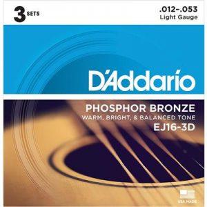 D_Addario EJ16-3D Phosphor Bronze Acoustic Guitar Strings, Light