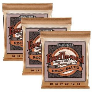 Ernie Ball 3451 Acoustic Guitar String, Rock-Blues 3-pack