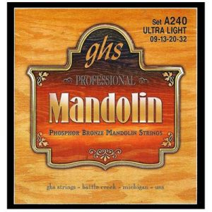 GHS Strings A240 Phosphor Bronze Mandolin Strings, Loop End, Ultra Light