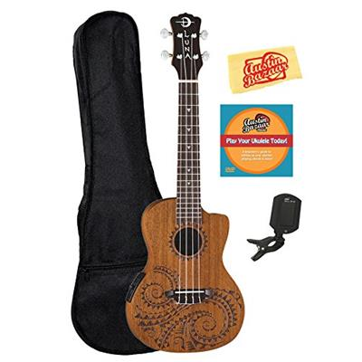 Luna Tattoo Mahogany Acoustic-Electric Concert Ukulele Bundle