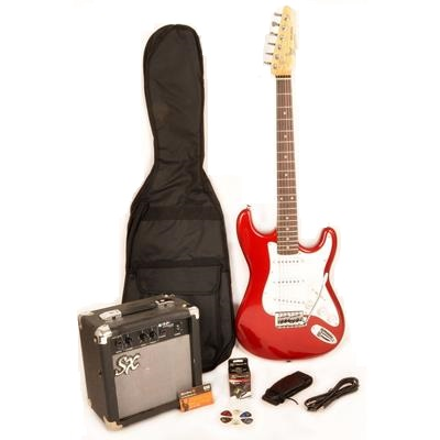 SX RST 3-4 CAR Short Scale Red Electric Guitar Package